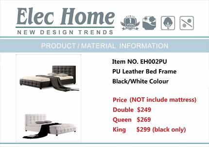 Warehouse direct Quality PU Leather Bed Black or White (EH002)