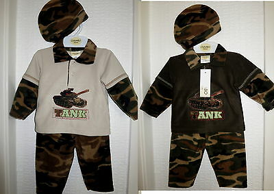 Camouflage-outfit (Baby Boy Winter Camouflage Outfit 3pc Long sleeve Fleece Top Trousers Hat 3-9 M )