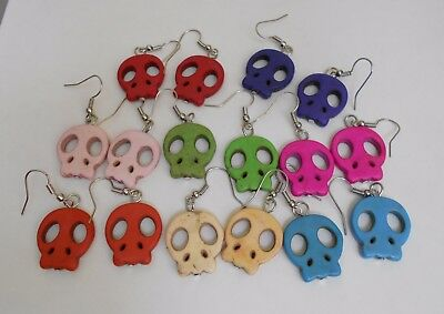Cute Bright Colors Skull Earrings for Halloween or Dia de los Muertos One Pair](Cute Halloween Colors)