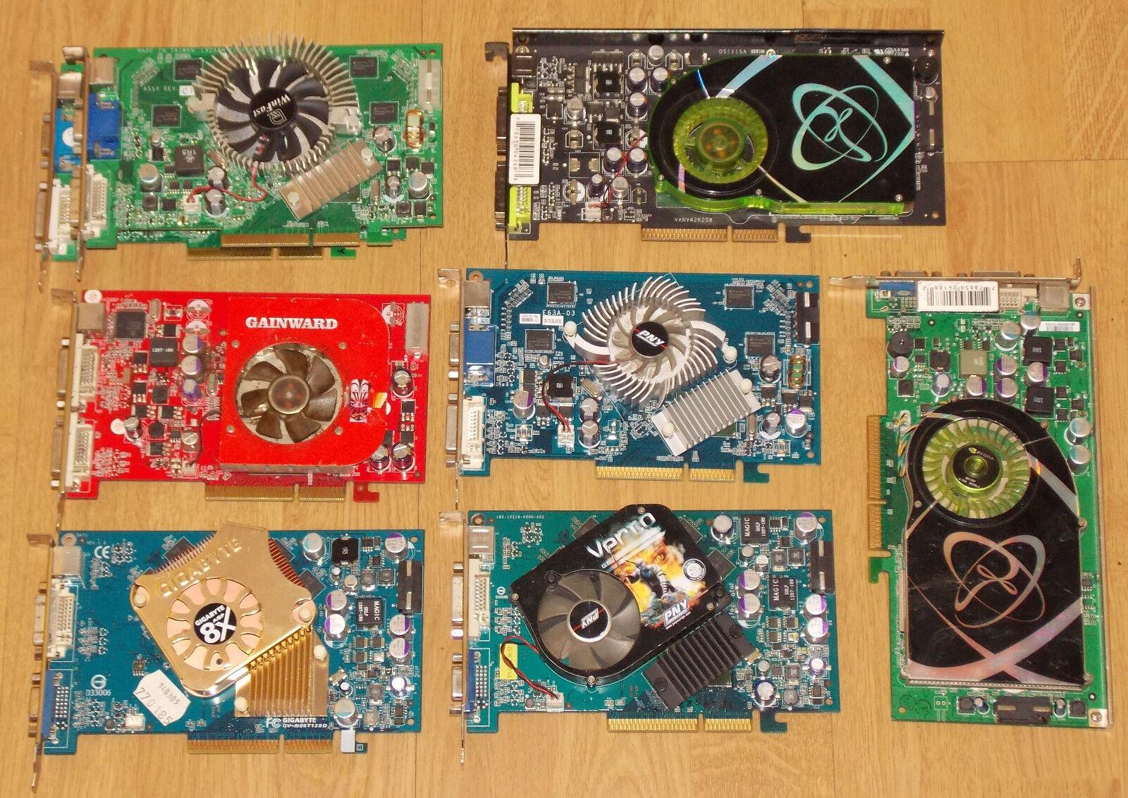!DEFEKT! 8x AGP Grafikkarten NVIDIA Geforce 7800GS 6800XT 7600GS 6600GT 7300GT