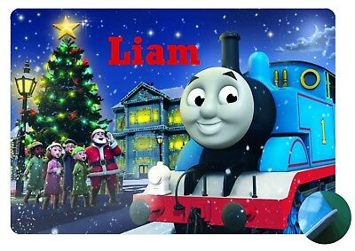 Personalised Christmas Thomas & Friends Place Mat - Easy wipe clean - EVA Backed