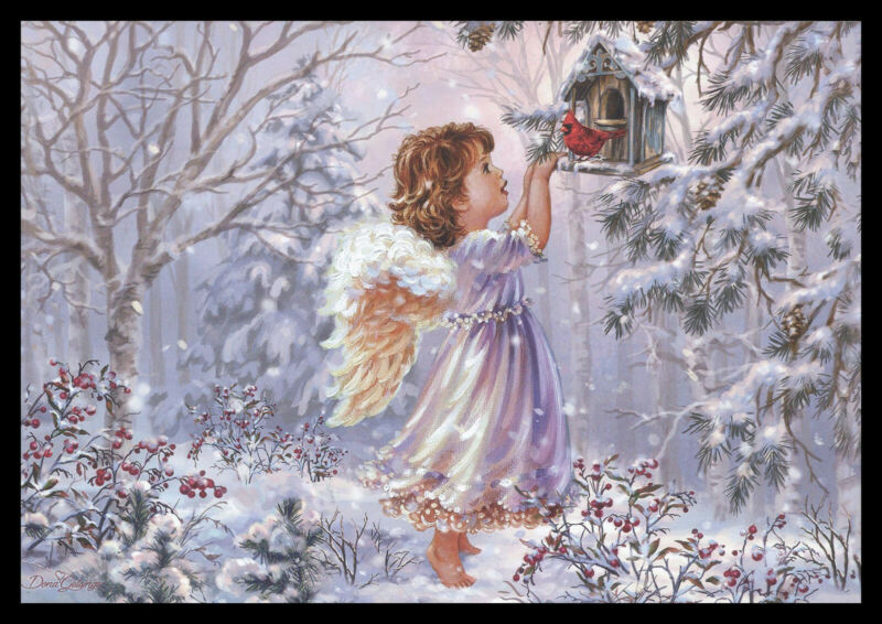 287-MSA Dona Gelsinger ANGEL BIRD CARDINAL Christmas Greeting Card NEW