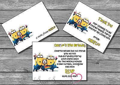 Personalised Minions Birthday Party Invitation / Thank You Card / Note - x12](Personalized Minion Birthday Invitations)