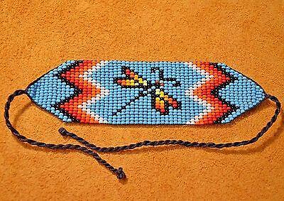 Loom Work Beaded Bracelets - Glass Seed Bead Loom Work Dragonfly Beadwork Bracelet, Colombia, South America
