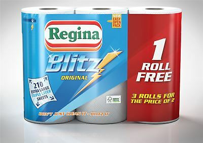 3ply Kitchen Paper Towels Absorbent Regina Blitz 70 Sheets Per Roll - 24 Rolls