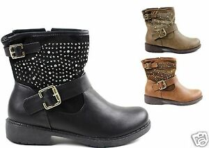 femmes bottes bottines motardes plat chaussures d 39 hiver paillettes luxueux ebay. Black Bedroom Furniture Sets. Home Design Ideas