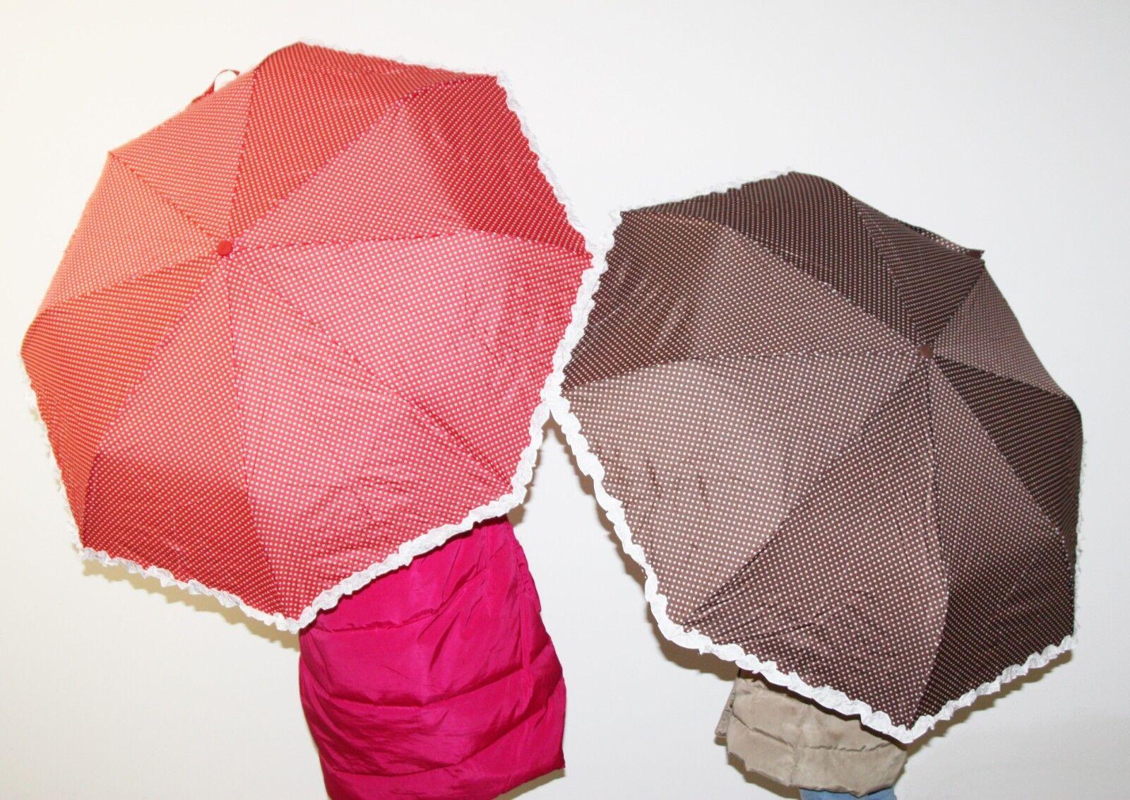 Romantique pur parapluie petit format pliable parapluie à pois à volants