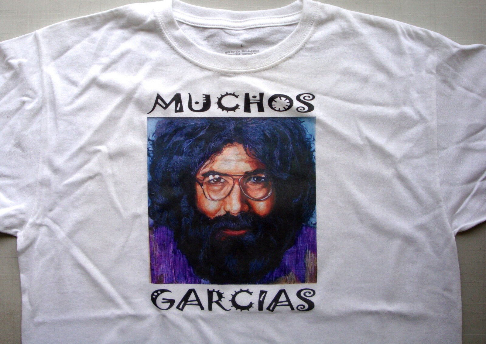 T-shirt white 100% cotton size XL Jerry Garcia Grateful dead muchos garcias