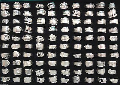 Assorted Handcrafted Silver Plate * Spoon Rings * Lot of 10 Rings * Flatware