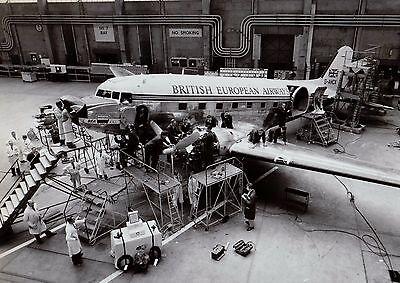 Douglas DC3 Dakota aircraft - BEA In Hangar Under Maintenance - 6 x 4 Print