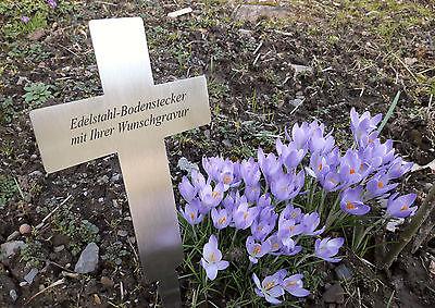 EDELSTAHL-GRABKREUZ (V2A) Bodenstecker/ Gedenkschild 200x140mm- mit WUNSCHGRAVUR