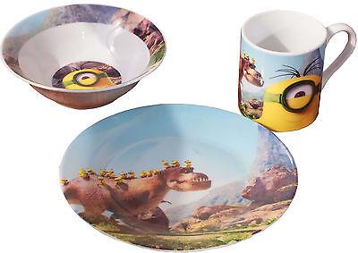 Minions***Dino**Kinder Geschirr-3er Set:Teller,Schale, Becher Porzellan,Neu&OVP
