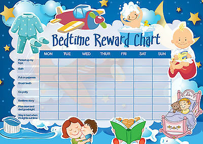 Smiley Face Charts - A3 Print - Children's Bedtime Reward Chart includes Smiley Face Stickers (Kids)