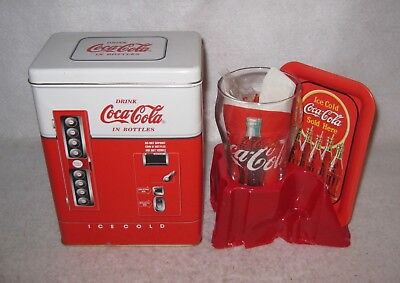 """Coca-Cola Collector's Tin with Glass, Plate & Napkin 8 x 6 x 3.75"""" 1997"""