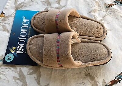 Isotoner Women's Microterry Slide Scuff Slipper Taupe Medium 7.5-8 NEW