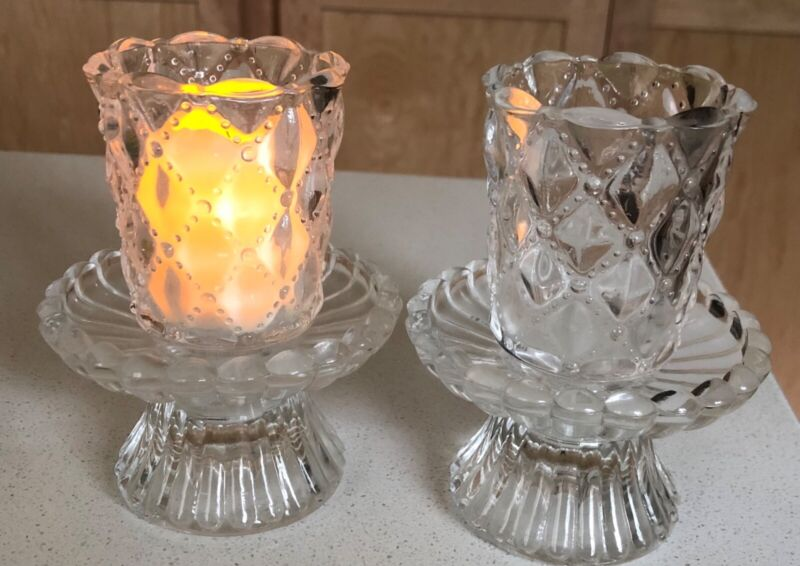 Vintage Crystal Votive or Taper Candle, Candle Holder Pair