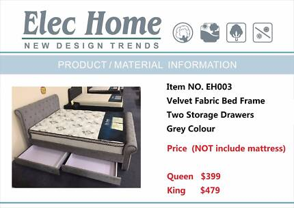 Grey Velvet Fabric Bed Frame with 2 Storage Drawers (EH003)