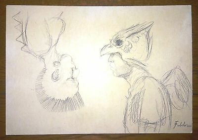 ROBERTO FABELO ORIGINAL GRAPHITE PENCIL ON PAPER DRAWING SIGNED FABELO