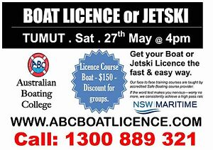 BOAT or PWC LICENCE - 27th May Tumut Tumut Area Preview