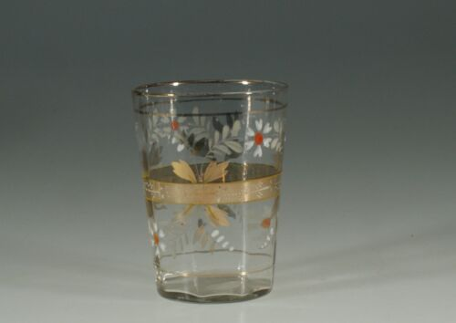 Victorian Glass Crystal Tumbler Handpainted Gold Orange & White Floral c.1890