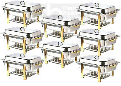 8 Pack Deluxe Full Size 8 Qt Gold Stainless Steel Buffet Chafer Chafing Dish
