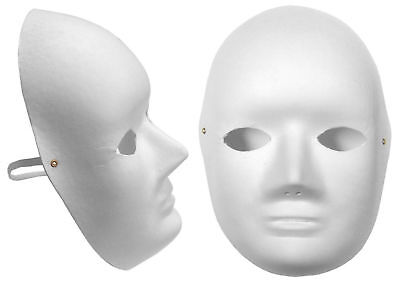 3x Plain White Cane Fibre Face Mask Biodegradable Fancy Dress Paper Mache ](Paper Masquerade Masks Bulk)