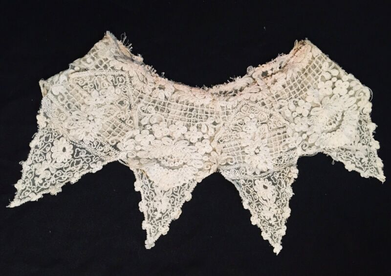Large Victorian Antique lace collar Floral Motif  Points  COSTUME/UPCYCLE