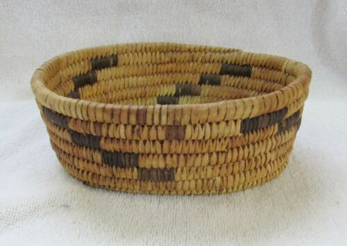 Papago Indian Hand Coiled Oval Basket Bowl Geometric Design Yucca Devils Claw