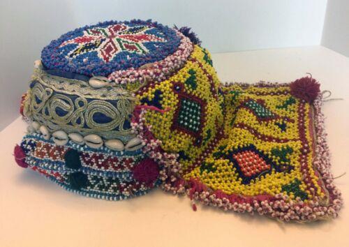 Intricate Beaded Hat w Cowry Shells Ethnic Tribal India Gujarat Rabari Tribe