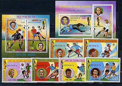 EQUATORIAL GUINEA 1974 SOCCER WORLD CUP MUNICH SET OF 6 STAMPS & 2 S/S MNH
