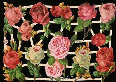 German Embossed Vintage Style Scrap Die Cut - Stunning Roses / Flowers   EF7362