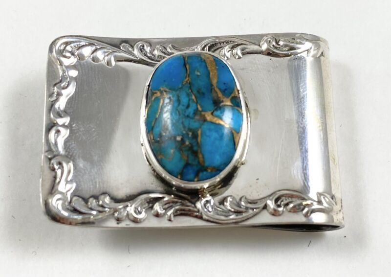 Southwestern Sterling Silver Turquoise Money Clip