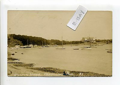 Cape Cod MA Mass Harwich Port RPPC real photo Wychmere Harbor, boats, early