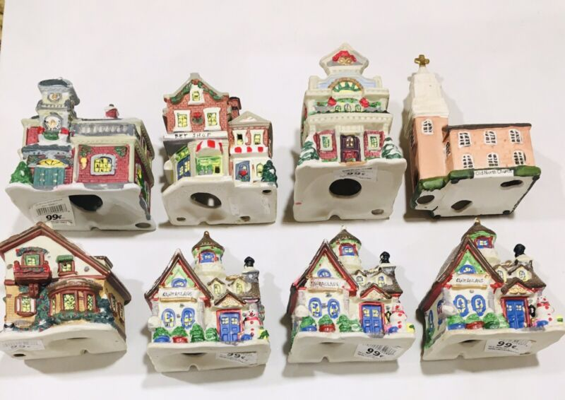 "Greenbrier & East West Christmas Winter Village Mini 5"" Ceramic House Lot of 8"