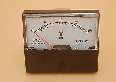 1pc Dc 0-20v Analog Voltmeter Panel Voltage Meter 6070mm Directly Connect