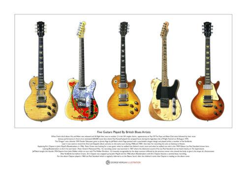 Five Famous British Blues Guitars Limited Edition Fine Art Print A3 size