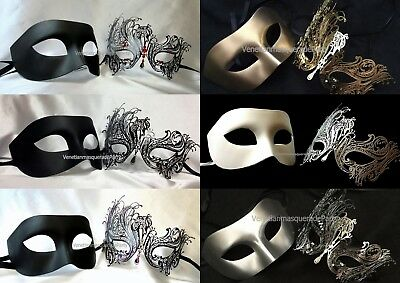 Pair Dress Up Halloween (Pair for Men women Swan eye mask Prom Costume Dress up Halloween Cosplay)