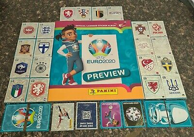 COMPLETE EURO 2020 PREVIEW STICKER OFFICIAL UK PANINI STICKERS SET & ALBUM