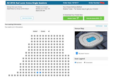 Australian Open Men's Final 2xConcession Tickets