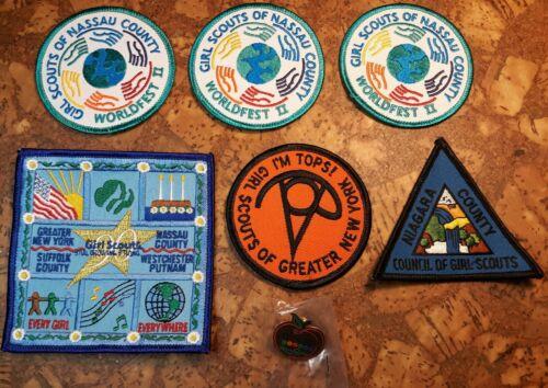 6 Girl Scout PATCHES & 1 pin NEW YORK Nassau NIAGARA Suffolk Westchester