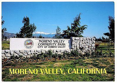 Moreno Valley California Postcard City Sign Suburban Community Unposted](Suburban Community)