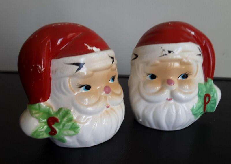 Vtg Santa Head Salt & Pepper Jolly Holly Midcentury
