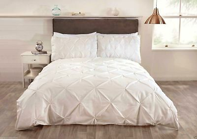 Balm Pleated Pintuck Duvet Cover Quilt Set Bedding Cream Grey White