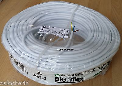 100 Metro Manguera blanca flexible 3x1.5mm2 H05VV-F cable blanco electrico 2500w