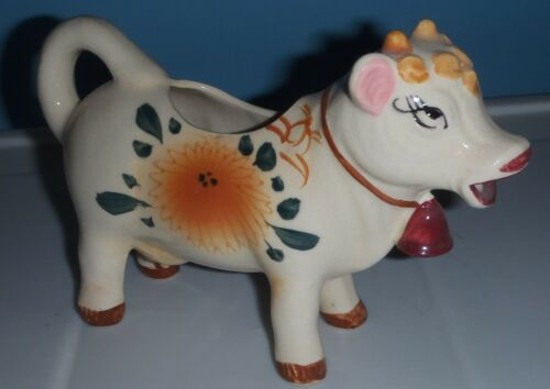 "Vintage Ceramic Floral COW CREAMER  from Japan 7"" long"
