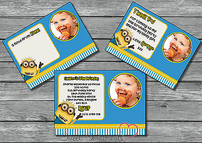 Personalised Minions Photo Invitation / Thank You Card / Birthday Party  x12  ](Personalized Minion Birthday Invitations)