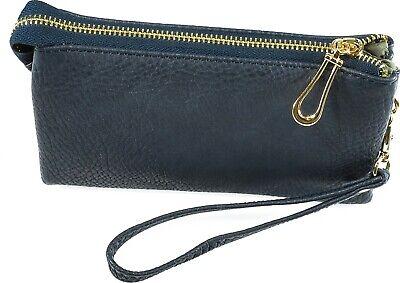 Bag Clutch Handbag Wristlet - Wristlet Wallet Clutch Bag Small Phone Purse Handbag Multi Compartment Navy