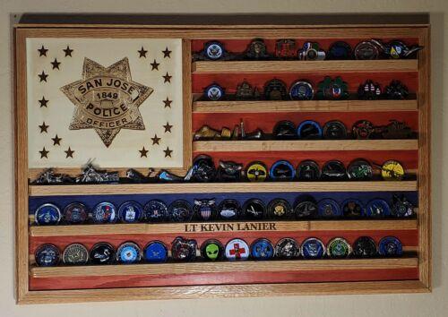 San Jose California Police Dept Challenge Coin display flag  36x20 PD-10 VA