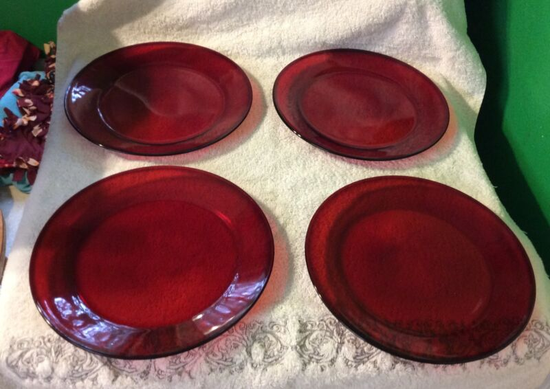 """Set Of 4 Ruby Red 10"""" Plates,"""