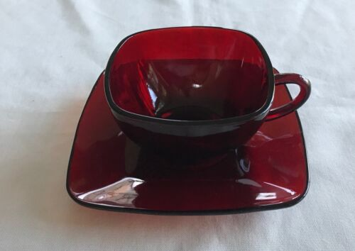 2 pc VTG FIRE-KING Charm Ruby By ANCHOR HOCKING  Cup &  Saucer Red Square Set